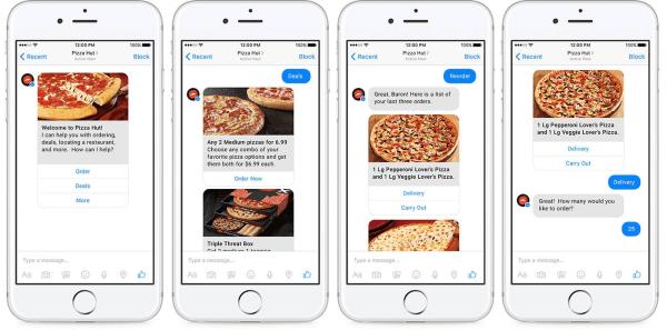 facebook messenger marketing - chat de Pizza Hut