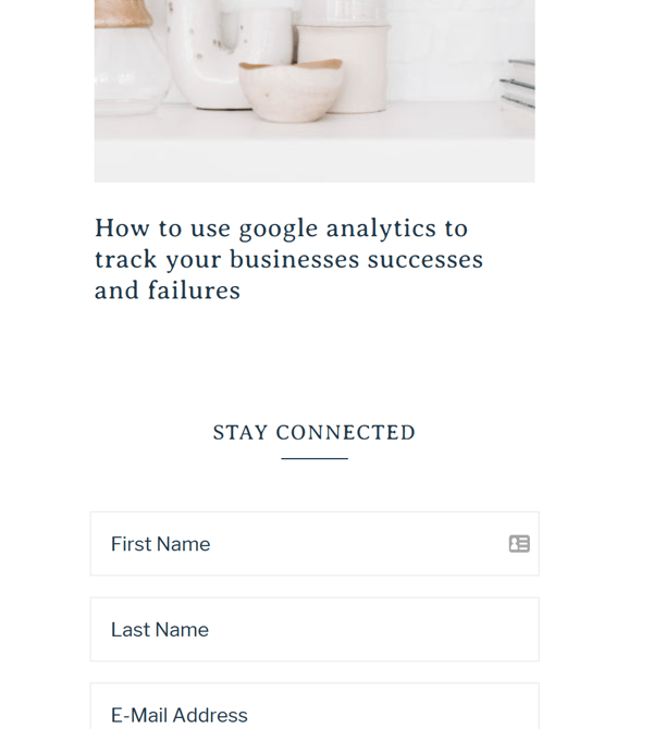 A screenshot of a landing page for Instagram with a form to add the visitor to newsletter