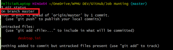 Screenshot of Git status command