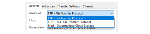 Screenshot of FileZilla showing how to switch from SFTP to FTP.