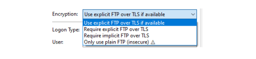 Screenshot from FileZilla showing the different encryption methods.