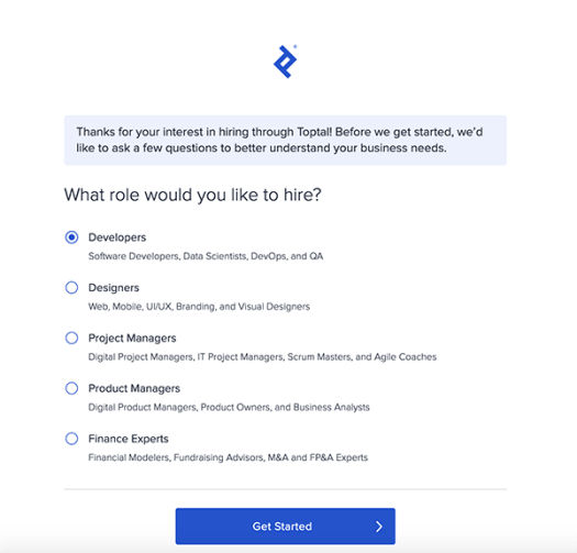 Getting started with Toptal.
