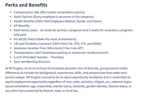 A sample of benefits for a tech support role at WP Engine.