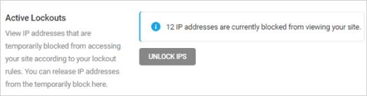 Defender - Firewall - IP Banning - Active lockouts.
