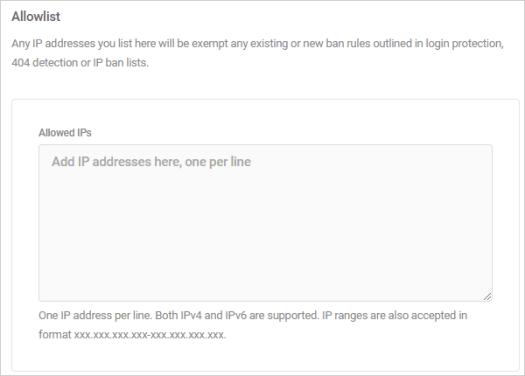 Allowlisted IP addresses.
