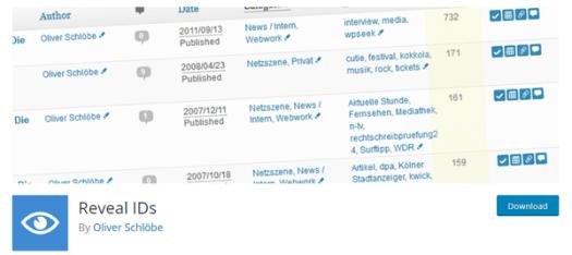 Screenshot of Reveal IDs from WordPress.org