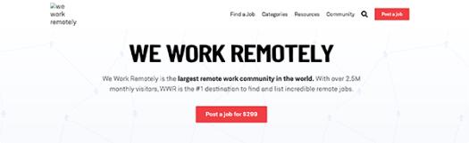 We Work Remotely homepage.