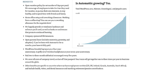 Automattic benefits.