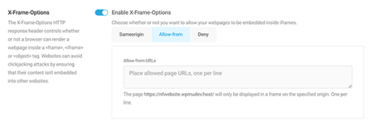 An example of additional settings for X-Frame-Options.