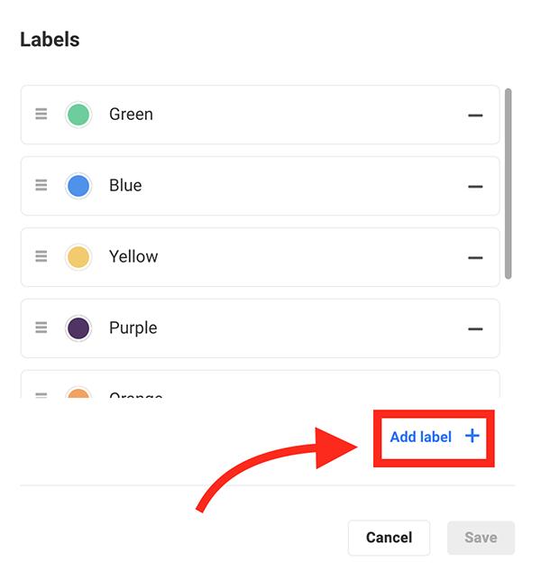 The add label button.