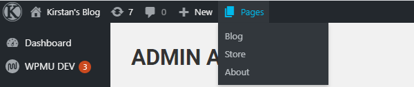 Screenshot of a custom admin bar menu item with a submenu.