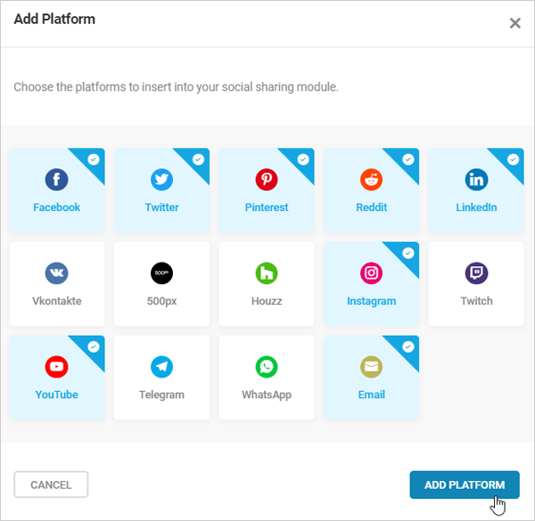 Add social platforms