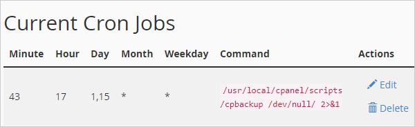 Updated cron job settings.