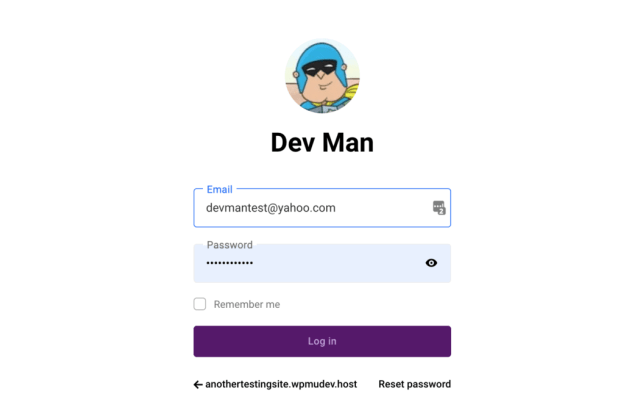 Custom user log in area.