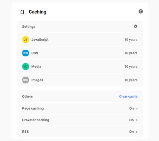 The Hub: Performance tab - Caching panel.