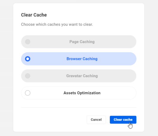 The Hub: Performance tab - clear cache link.