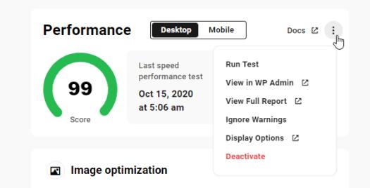 The Hub: Performance tab - More options
