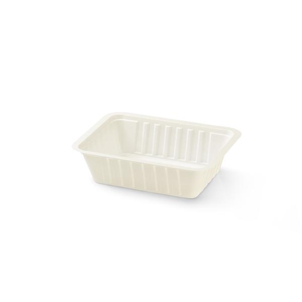 Wit plastic bakje, voor bijvoorbeeld frietjes