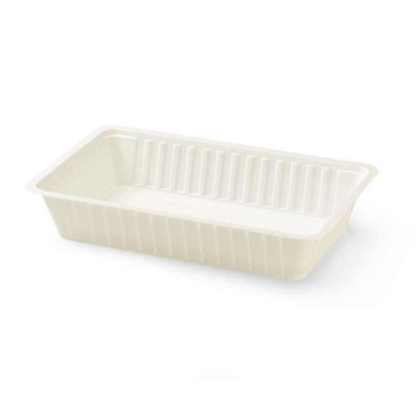 Witte plastic frietbakje a14