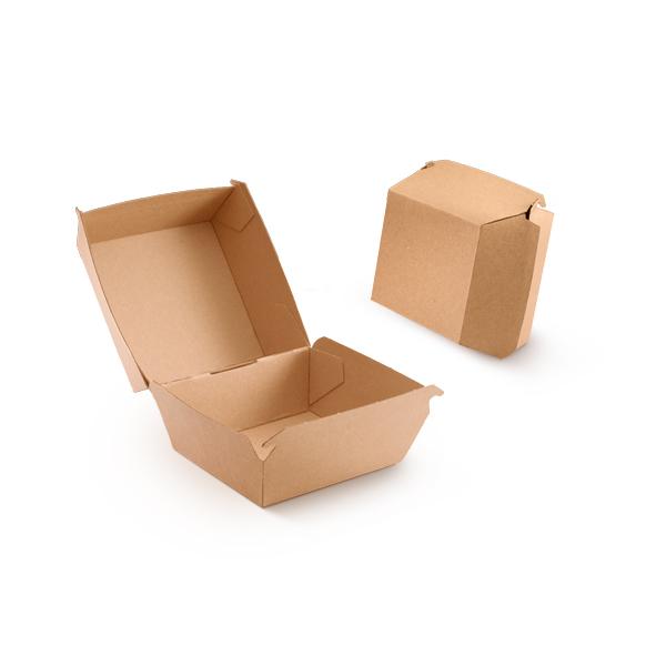 Hamburger bakje uitgevoerd in het karton in een kraft versie
