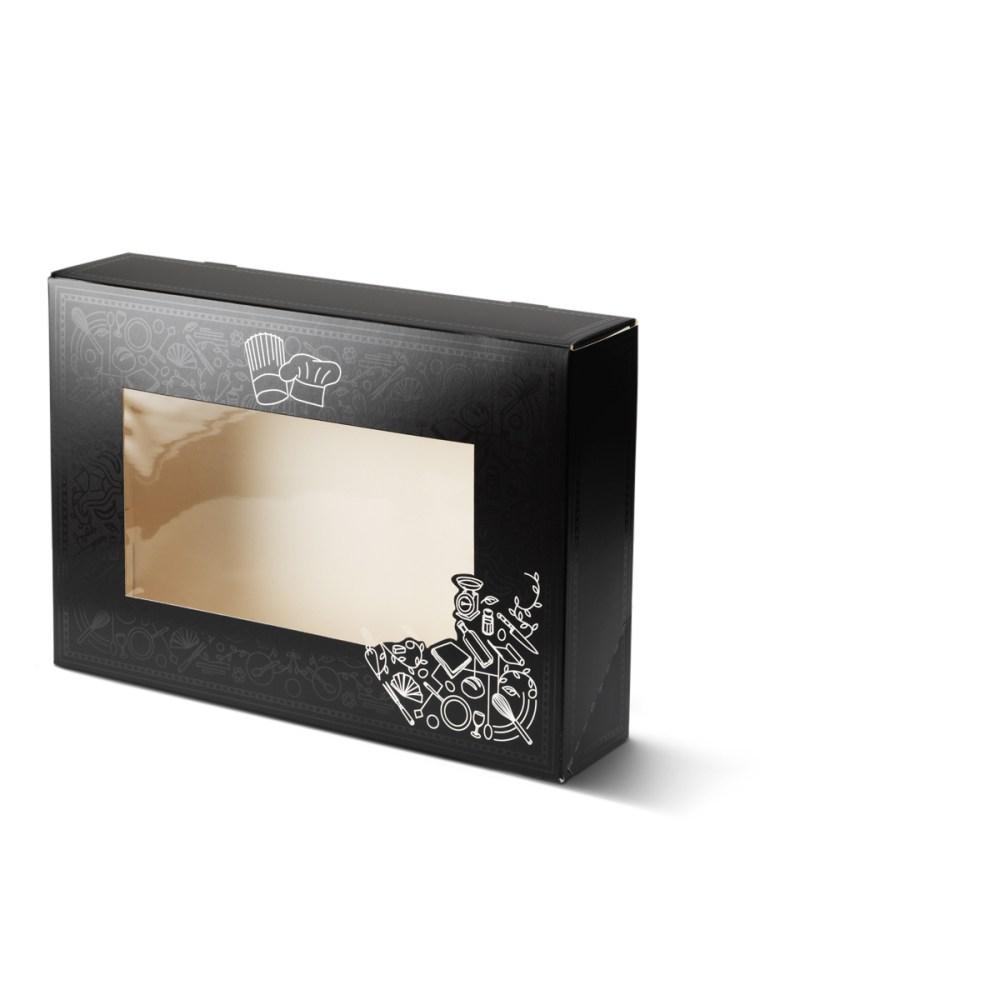 Catering doos klein met venster voor bijvoorbeeld salades, maaltijden etc. uitgevoerd in het zwart