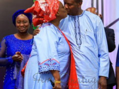 Pastor Adeboye kissing wife