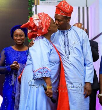 Pastor Adeboye kissing wife