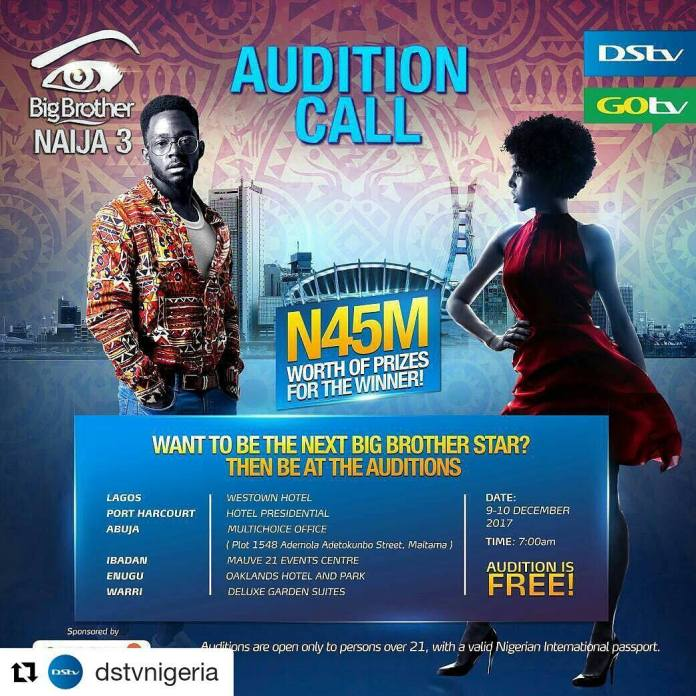 BBNaija 2018: Dates, requirements for audition