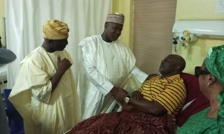 Dogara visits Senator Dino Melaye in National hospital Abuja
