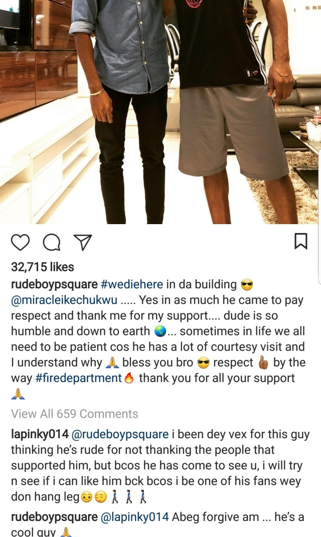 Miracle visits Paul Okoye and his family at their home.