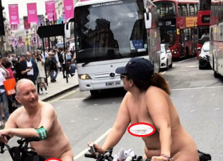Naked couple spotted riding bicycles in busy London road