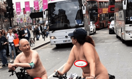 Naked couple spotted riding bicycles in busy London road 18+(Photos)