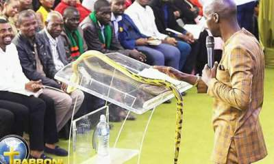 South African pastor who fed grass to worshippers, brings live snake to church,