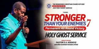 RCCG July 2018 Holy Ghost Service main
