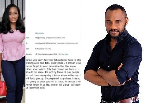 ''Channel your pain to our corrupt leaders who have made you all jobless'' Yul Edochie reacts to acid bath threat reality star, Ceec received from a non-fan