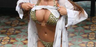 Katie Price wears plunging leopard print bikini as she's romanced by TWO hunky toyboys