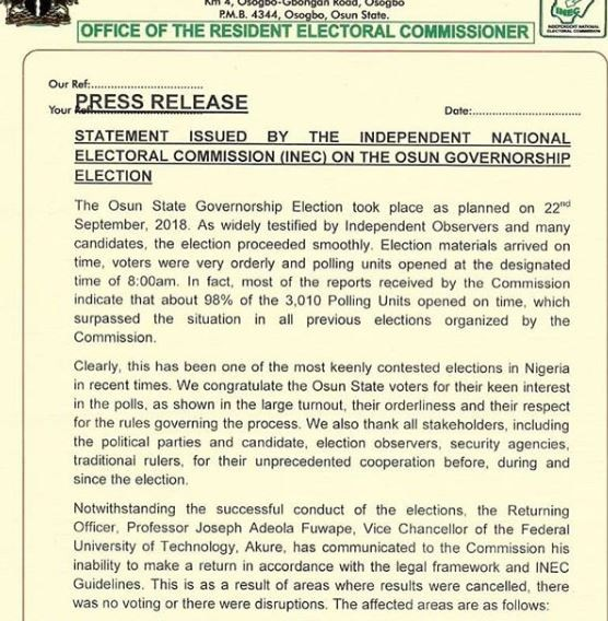 INEC declares Thursday 27th as date for Osun governorship election re-run
