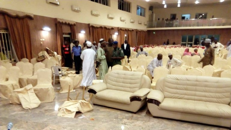 Serving Senator reportedly slaps Commissioner at Gombe PDP primaries (Videos/Photos)