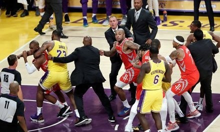 LeBron James' home debut game is marred by fights as players throw punches in LA Lakers  vs Houston Rockets game (Videos)