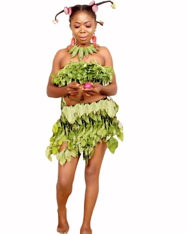 Nollywood star appears in fruit and leaf outfit to celebrate her birthday (Photos)