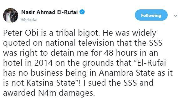 Nasir El-Rufai calls Peter Obi 'a tribal bigot'