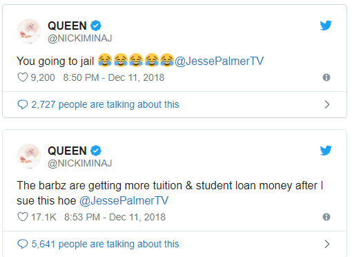 Nicki Minaj threatens to sue 'Dailymail TV' host Jesse Palmer for 'lying' about her on national television