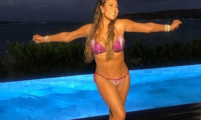Mariah Carey flaunts bikini body in sparkly swimsuit while posing poolside in St. Barts (Photos)