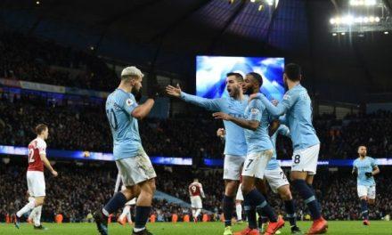 Aguero scores hat-trick as Manchester City beat Arsenal 3-1