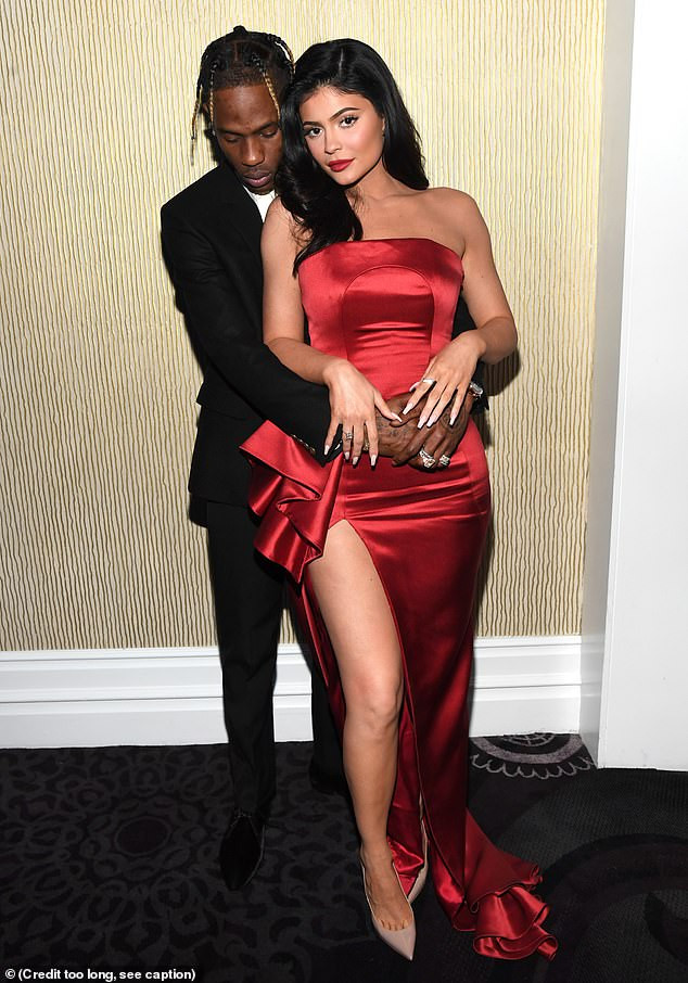 Kylie Jenner & Travis Scott pack on the PDA at Clive Davis pre-Grammy's bash (Photos)