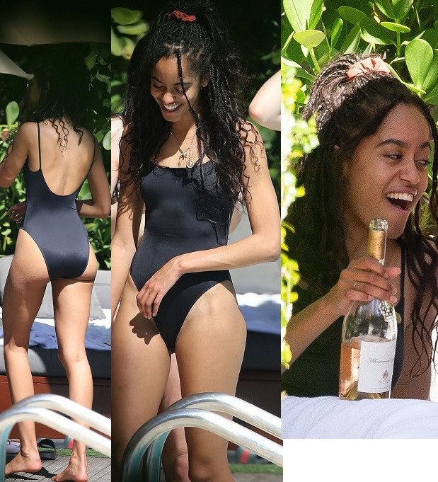 Malia Obama flaunts her hot body as she sips wine with friends at Miami Beach pool party (Photos)