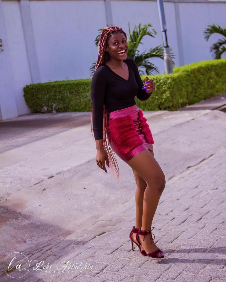 BBnaija: Alex Unusual puts her hot legs on display in red and black mini dress