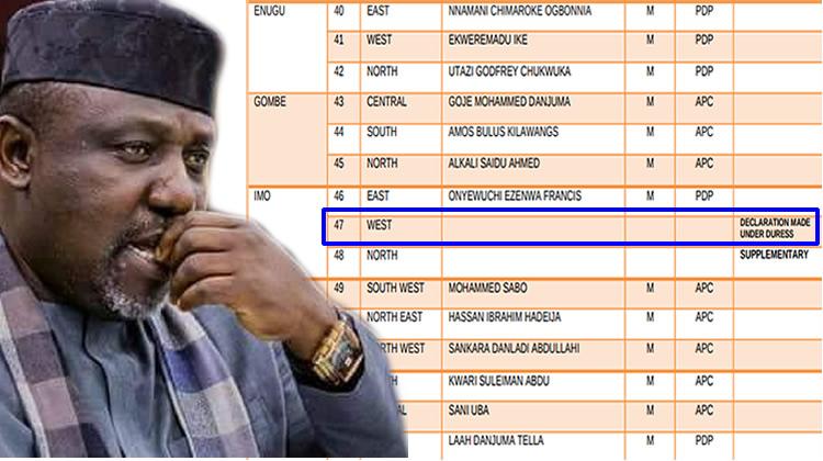 Rochas Okorocha missing on INEC's list of senators-elect
