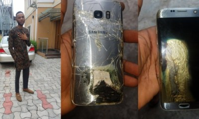 Man escapes being burnt alive as his Samsung phone explodes