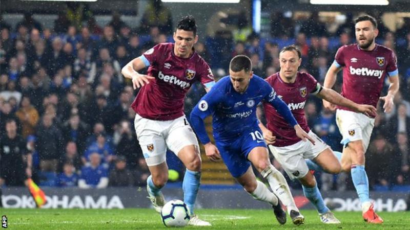 Chelsea 2-0 West Ham: Hazard double sends Blues third